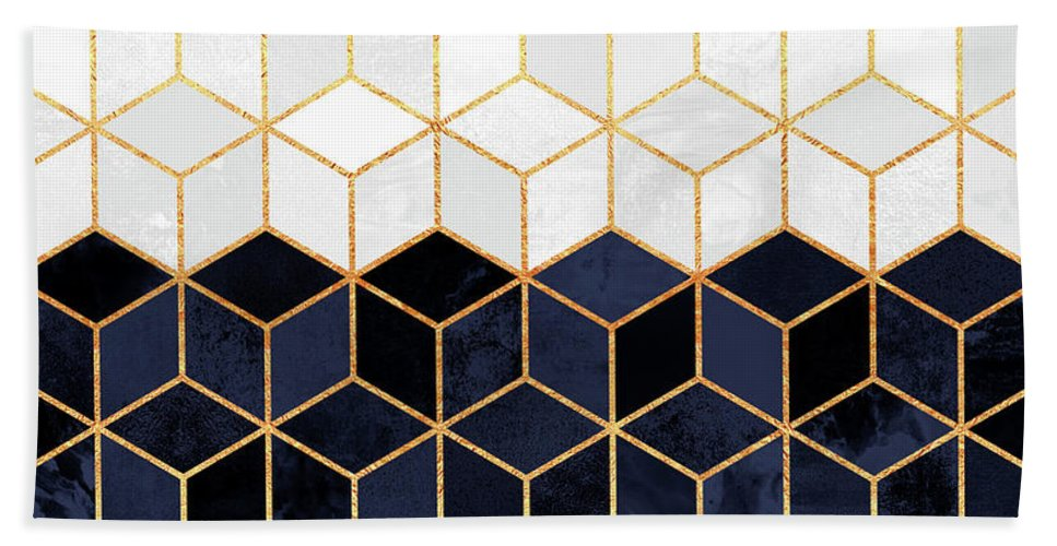 Graphic Beach Towel featuring the digital art White And Navy Cubes by Elisabeth Fredriksson