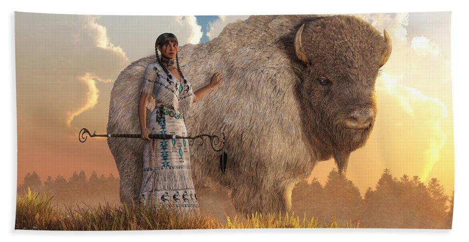 White Buffalo Calf Woman Beach Towel featuring the digital art White Buffalo Calf Woman by Daniel Eskridge