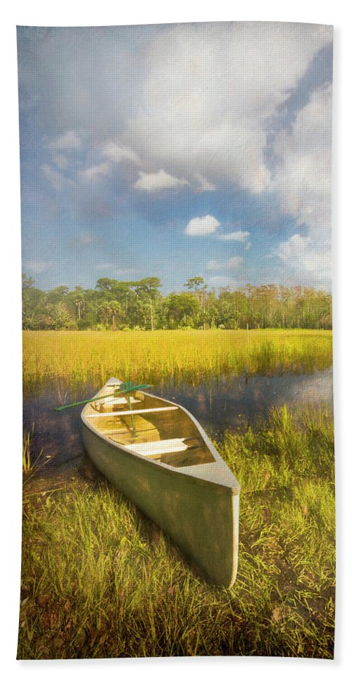 Boats Beach Towel featuring the photograph White Canoe Textured Painting by Debra and Dave Vanderlaan