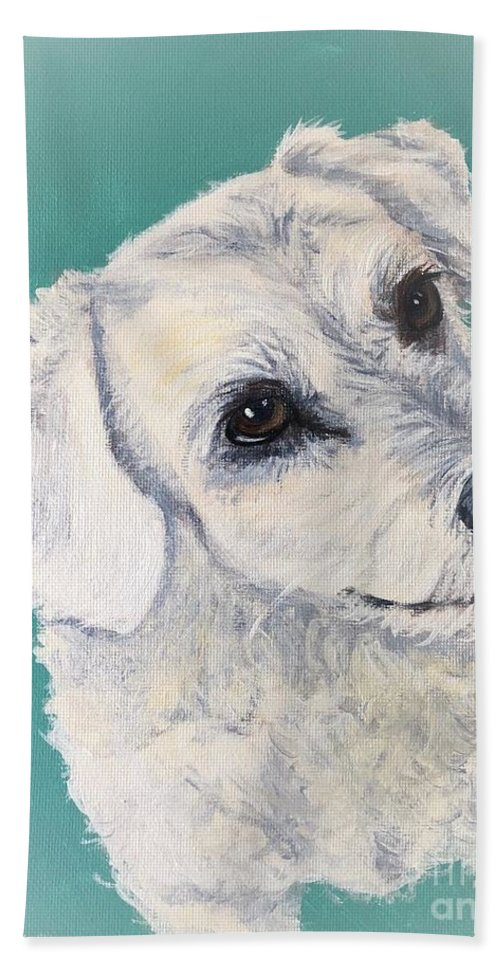 Dog Beach Towel featuring the painting White Dog by Charleena Treanor