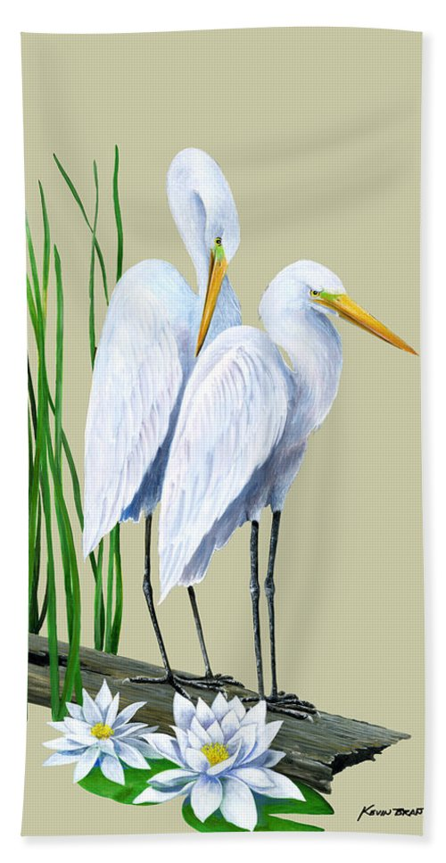 Egret Beach Towel featuring the painting White Egrets And White Lillies by Kevin Brant