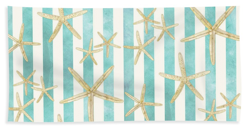 Watercolor Beach Towel featuring the painting White Finger Starfish Watercolor Stripe Pattern by Audrey Jeanne Roberts