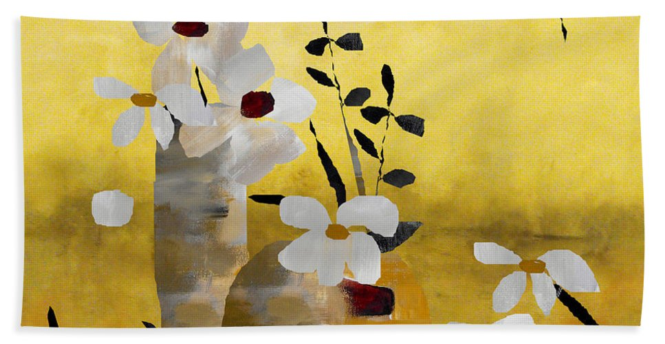 Abstract Beach Towel featuring the painting White Floral Collage II by Ruth Palmer