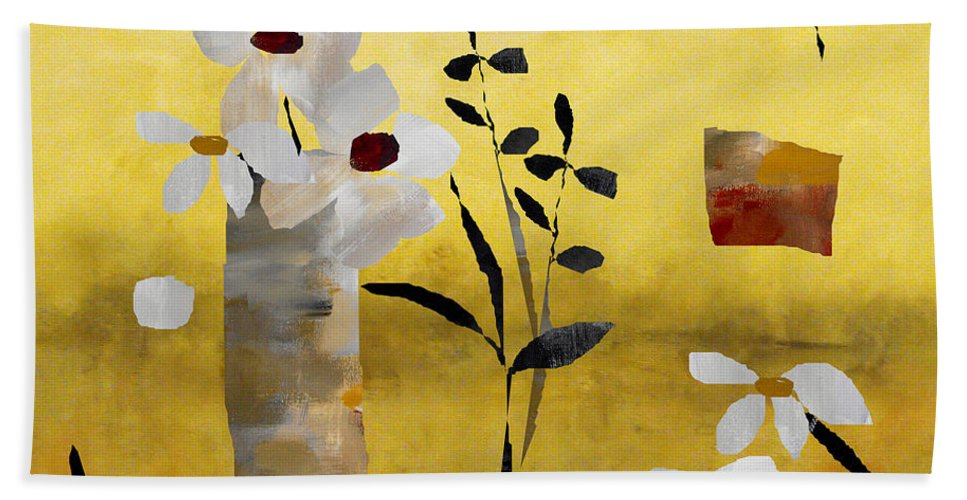 Abstract Beach Towel featuring the painting White Floral Collage by Ruth Palmer