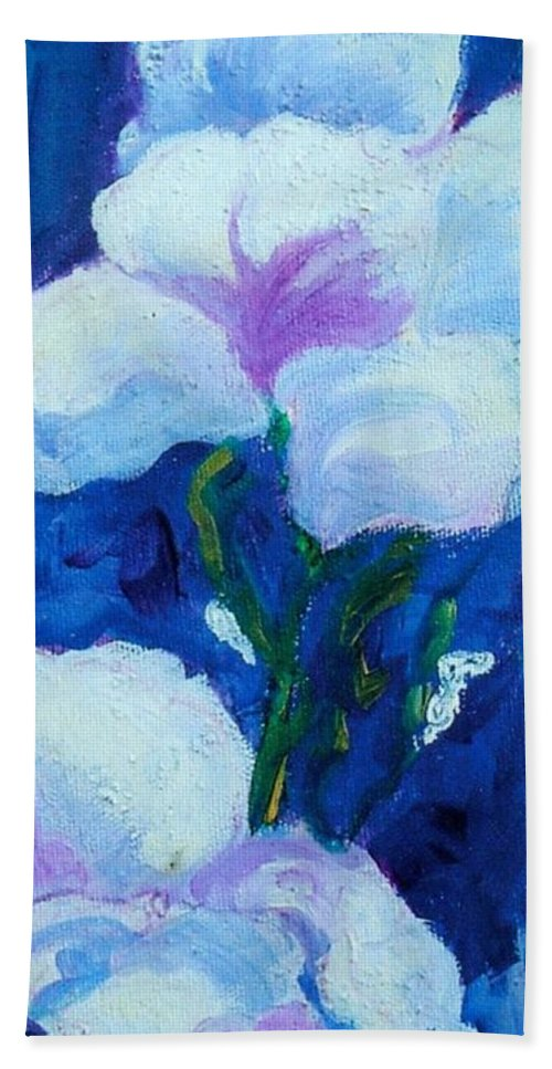 White Beach Towel featuring the painting White Flowers by Sandy Sereno