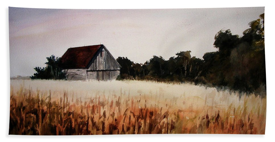 Landscape Beach Sheet featuring the painting White For Harvest by Rachel Christine Nowicki
