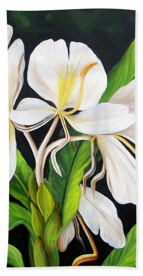 Floral Beach Towel featuring the painting White Ginger by Dominica Alcantara