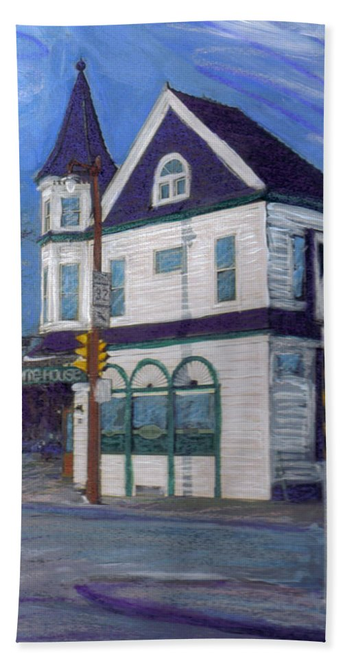 White House Tavern Beach Towel featuring the mixed media White House Tavern by Anita Burgermeister