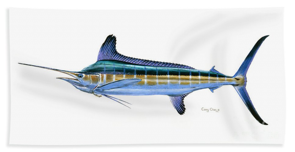 White Marlin Beach Towel featuring the painting White Marlin by Carey Chen