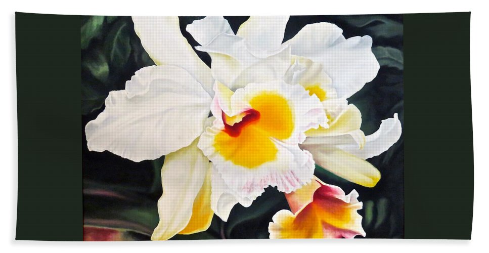 Orchid Beach Towel featuring the painting White Orchid by Janice Petrella-Walsh