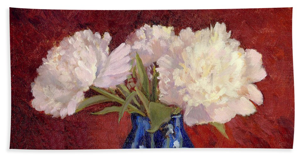 Peonies Beach Towel featuring the painting White Peonies by Keith Burgess