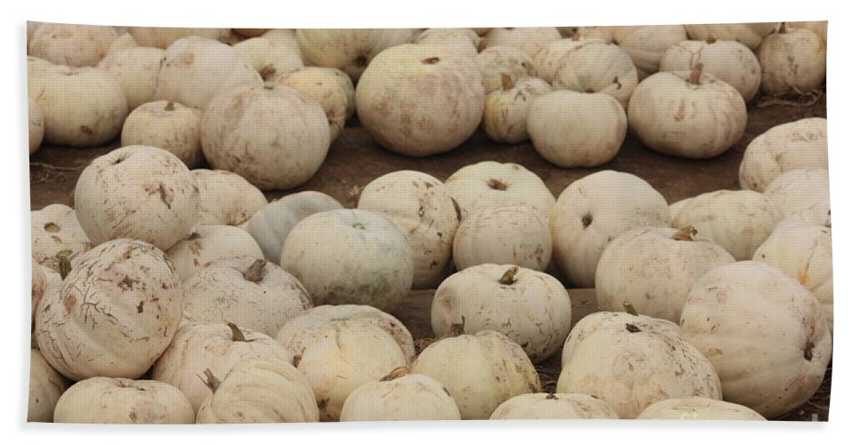 White Pumpkins Beach Towel featuring the photograph White Pumpkins by Carol Groenen