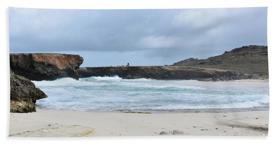 Boca Keto Beach Towel featuring the photograph White Sand Beach And Large Rock Formations In Aruba by DejaVu Designs