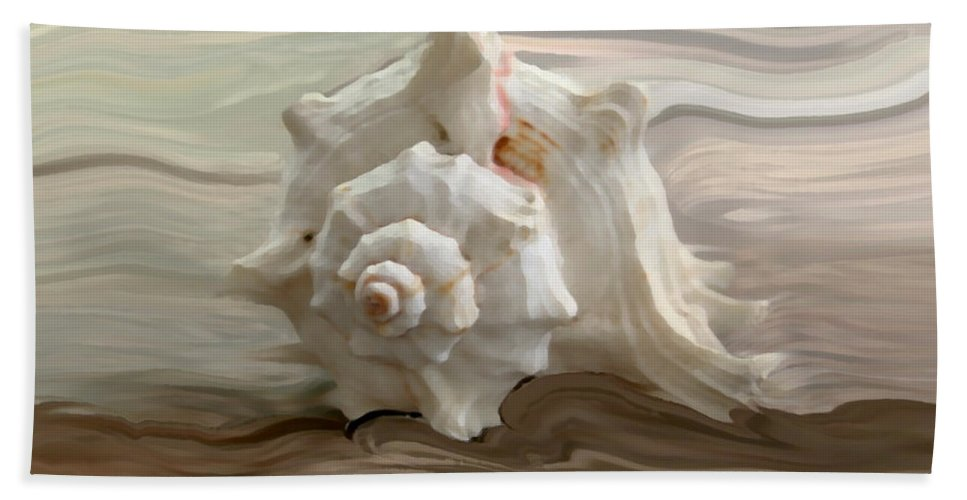 Seashell Beach Towel featuring the photograph White shell by Linda Sannuti