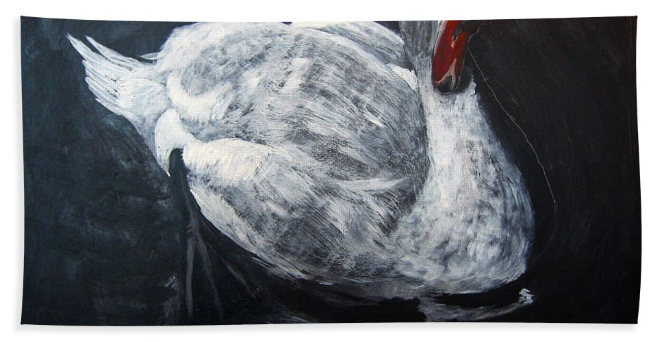 Swan Beach Towel featuring the painting White Swan by Richard Le Page