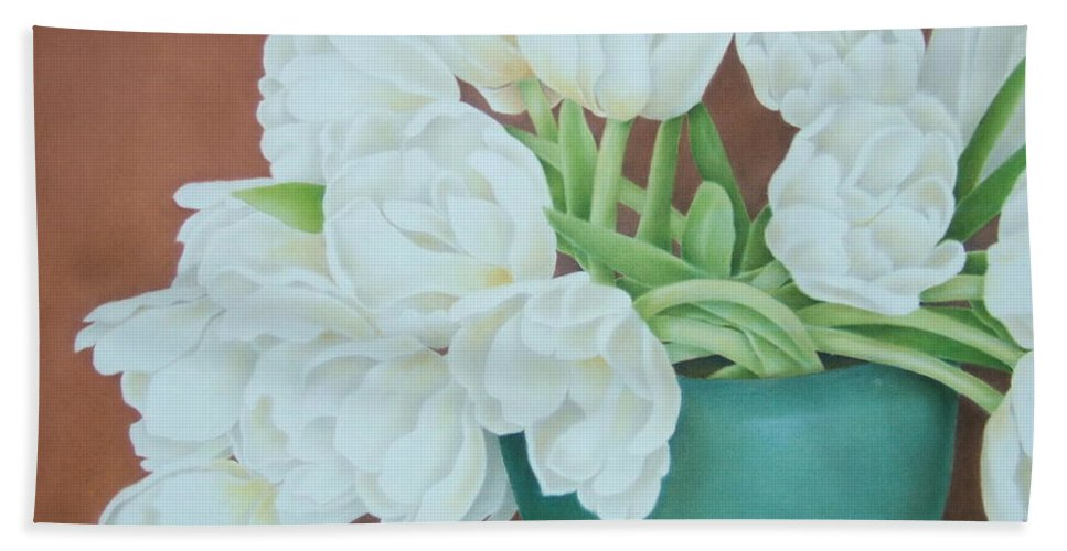 Still Life Beach Towel featuring the painting White Tulilps In Blue Vase by Terri Meyers