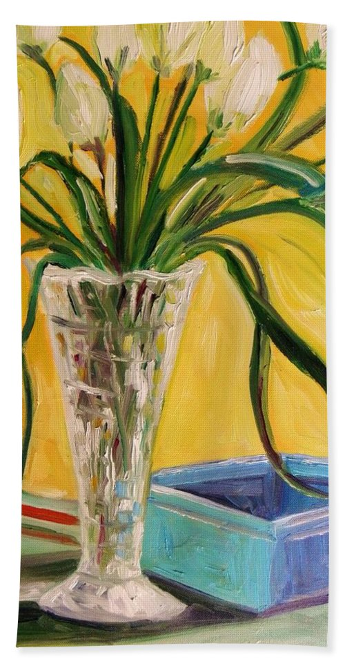 Tulips Beach Towel featuring the painting White Tulips In Cut Glass by John Williams
