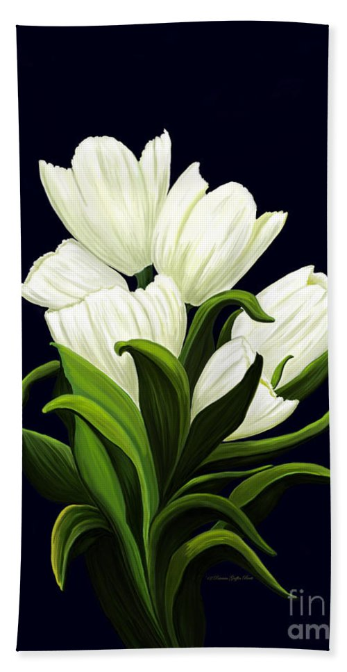 Mixed Media Beach Towel featuring the painting White Tulips by Patricia Griffin Brett