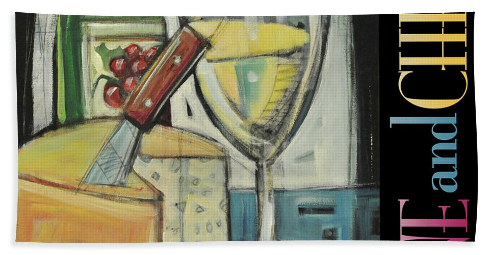 Wine Beach Towel featuring the painting White Wine And Cheese Poster by Tim Nyberg