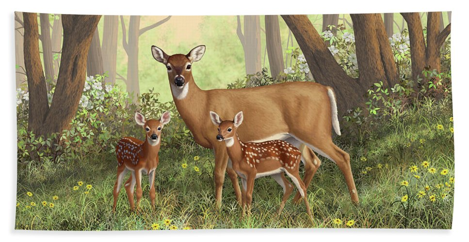Whitetail Deer Beach Towel featuring the painting Whitetail Doe And Fawns - Mom's Little Spring Blossoms by Crista Forest