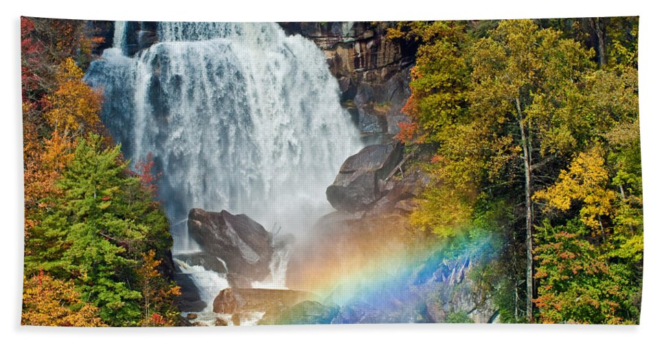 Waterfall Beach Towel featuring the photograph Whitewater Falls by David Freuthal