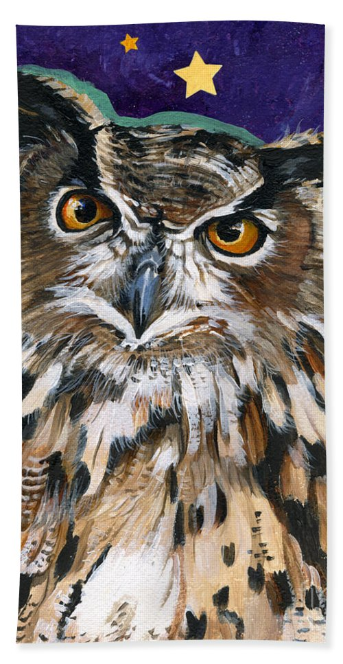 Owl Beach Towel featuring the painting Who by J W Baker