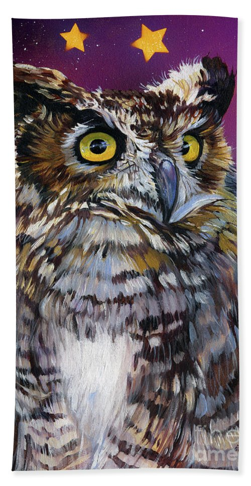 Owl Beach Towel featuring the painting Who Knew by J W Baker