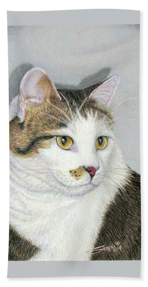 Pet Portraits Beach Towel featuring the drawing Who Me by Beverly Fuqua