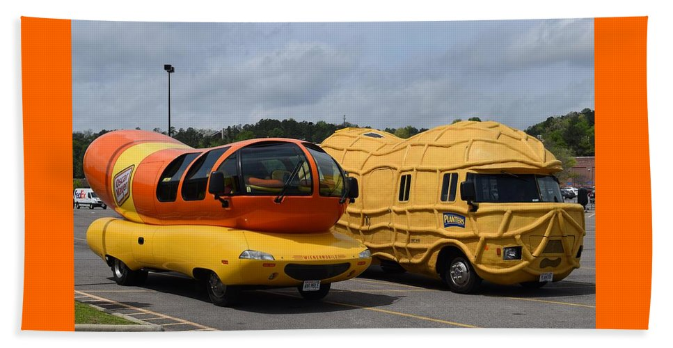 wienermobile and peanut mobile 2 beach sheet for sale by timothy smith