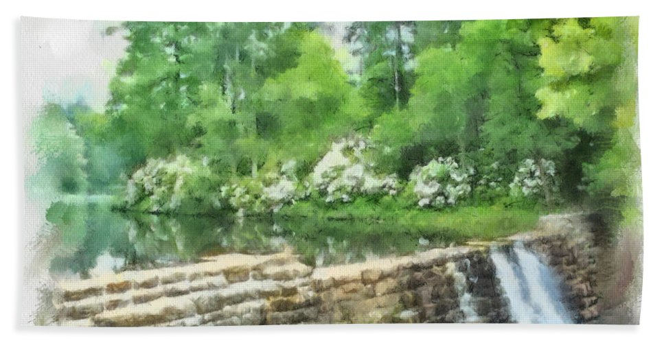 Wigwam Beach Towel featuring the painting Wigwam Falls by Paulette B Wright