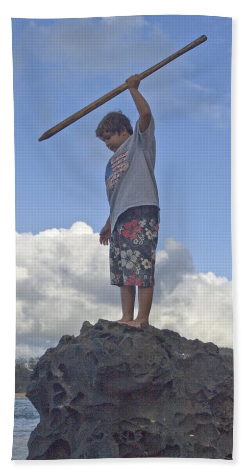 Flag Beach Towel featuring the photograph Wild Boy In Paradise by Robert Ponzoni