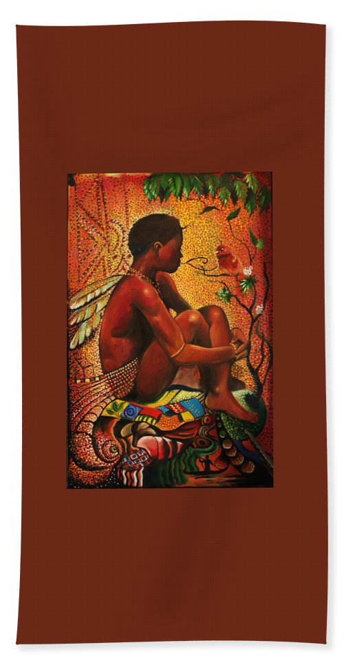 Africa Akan David Expensive Nigerian Art Pointillism Beach Towel featuring the painting Wild Child by Akan David