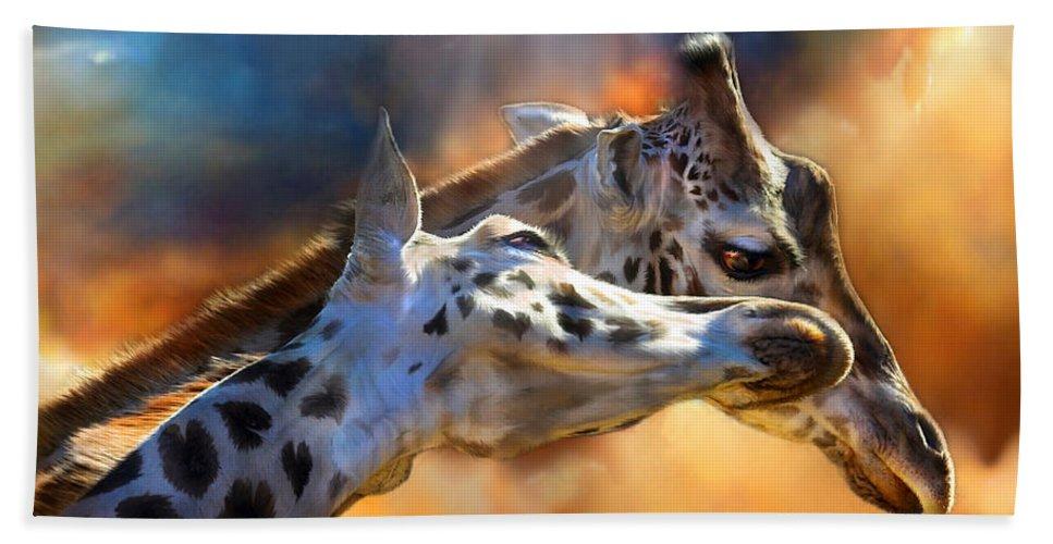 Giraffe Beach Towel featuring the mixed media Wild Dreamers by Carol Cavalaris