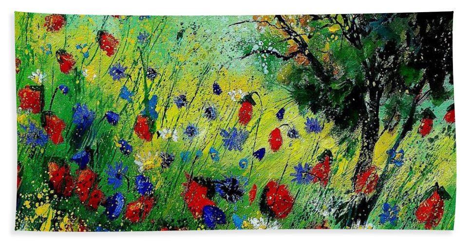 Flowers Beach Towel featuring the painting Wild Flowers 670130 by Pol Ledent
