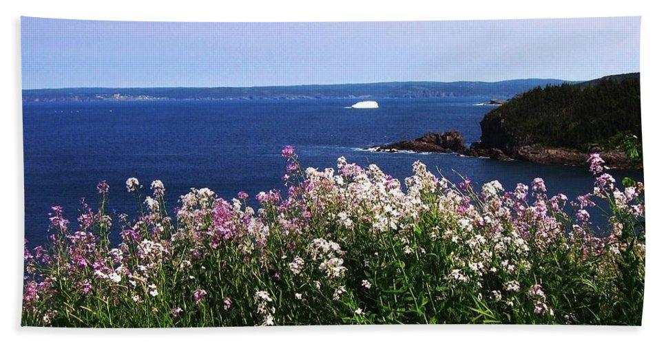 Photograph Iceberg Wild Flower Atlantic Ocean Newfoundland Beach Towel featuring the photograph Wild Flowers And Iceberg by Seon-Jeong Kim