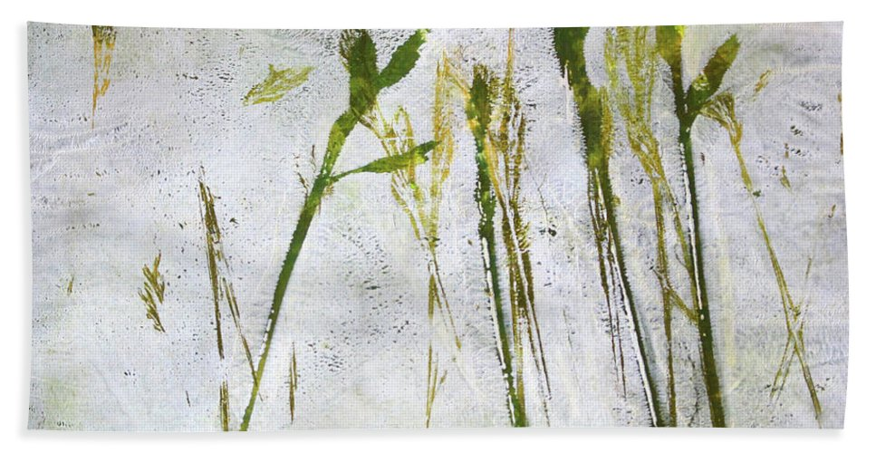 Nature Monoprint Beach Towel featuring the painting Wild Grass 2 by Nancy Merkle