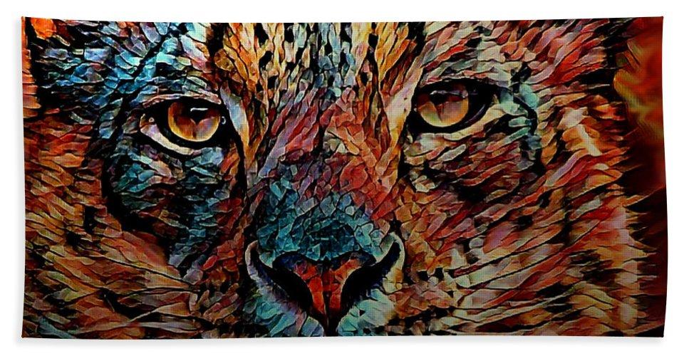 Digital Art Beach Towel featuring the digital art Wild Leopard by Artful Oasis