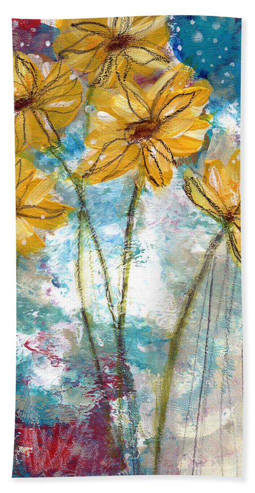 Sunflowers Beach Towel featuring the painting Wild Sunflowers- Art By Linda Woods by Linda Woods