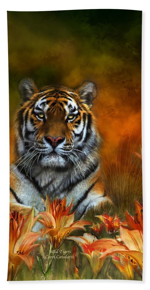 Tiger Beach Towel featuring the mixed media Wild Tigers by Carol Cavalaris