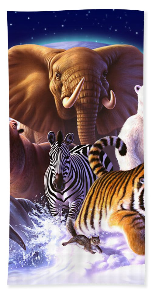 Mammals Beach Towel featuring the painting Wild World by Jerry LoFaro