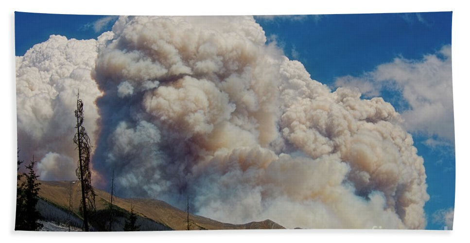 Wildfire Beach Towel featuring the photograph Wildfire Smoke by David Arment