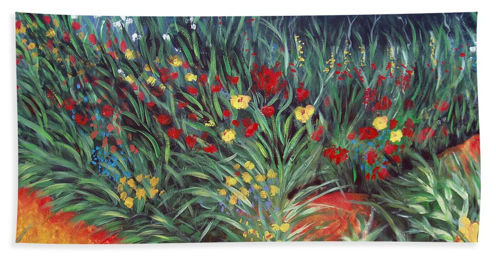 Landscape Beach Towel featuring the painting Wildflower Garden 2 by Nancy Mueller