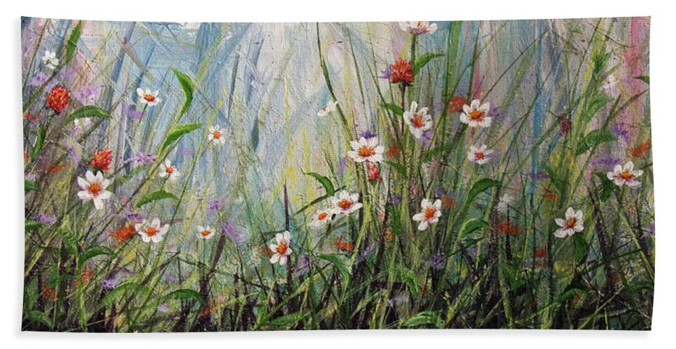 Wildflowers Beach Towel featuring the painting Wildflowers by Dee Carpenter