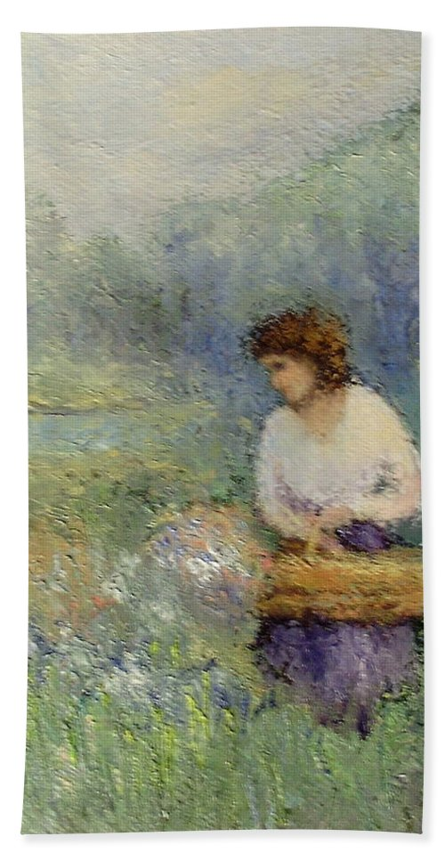 Woman Beach Sheet featuring the painting Wildflowers by Gail Kirtz