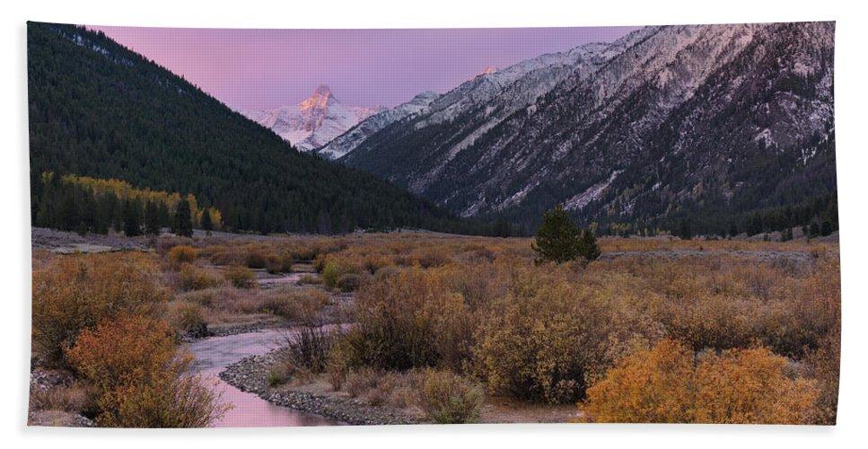 Altitude Beach Towel featuring the photograph Wildhorse Creek Autumn Sunrise by Leland D Howard