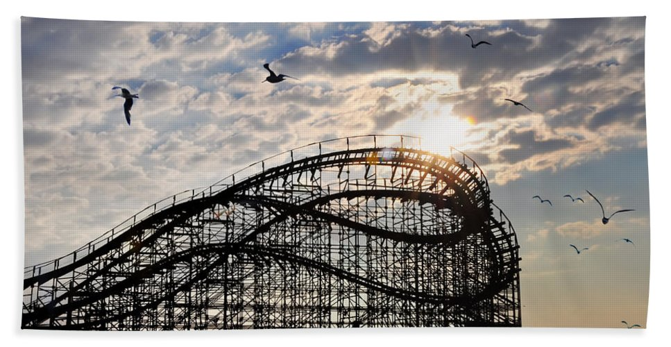 Great White Beach Towel featuring the photograph Wildwood Roller Coaster by Bill Cannon