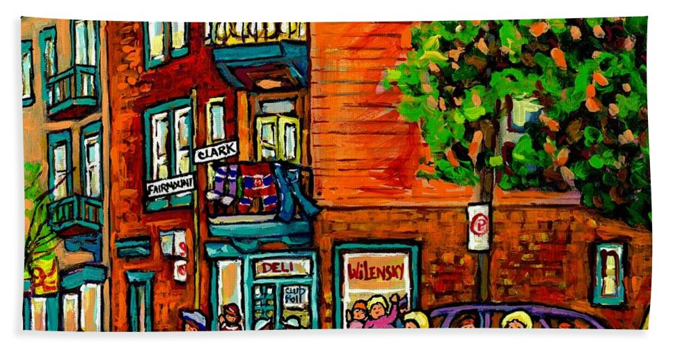 Wilensky's Diner Beach Towel featuring the painting Wilensky Diner Little League Expo Kids Baseball Painting Montreal Scene Canadian Art Carole Spandau by Carole Spandau