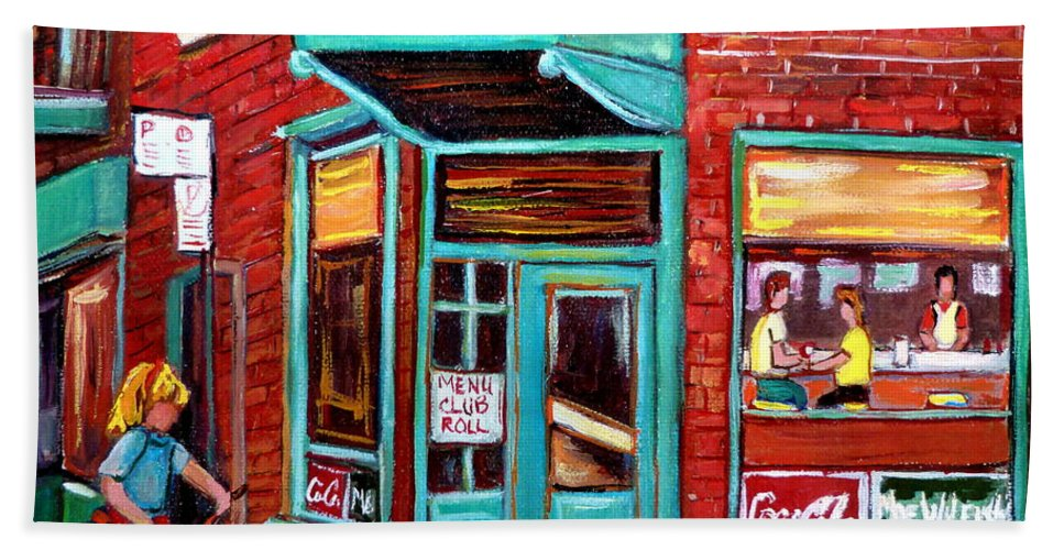 Wilensky\'s Cafe Beach Towel featuring the painting Wilenskys Cafe On Fairmount In Montreal by Carole Spandau