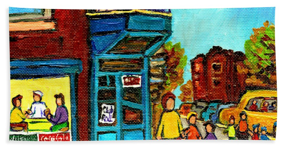 Montreal Beach Towel featuring the painting Wilensky's Counter With School Bus Montreal Street Scene by Carole Spandau