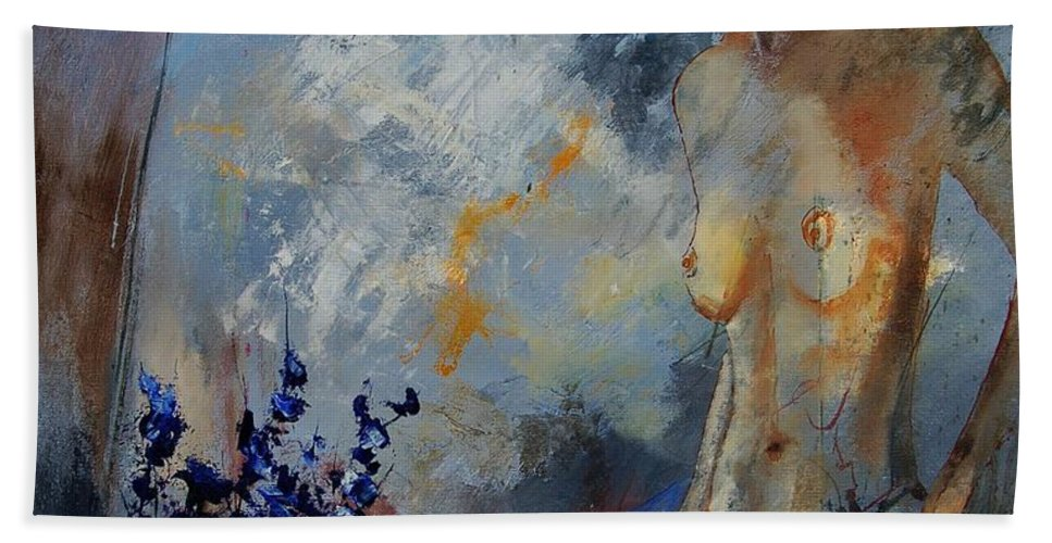 Girl Beach Towel featuring the painting Will He Be Coming by Pol Ledent